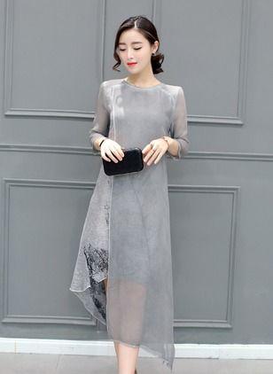 Seide Blumen 1012544/1012544 Ärmel Asymmetrische Lässige Kleidung Kleider (1012544) @ floryday.com
