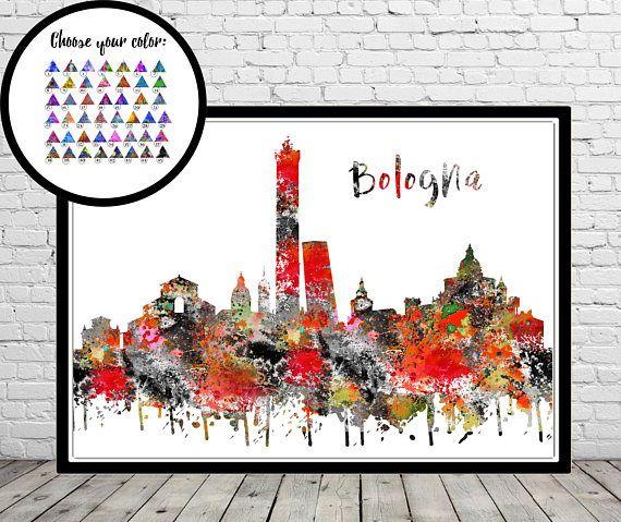 Bologna Bologna skyline Bologna Italy Italy watercolor