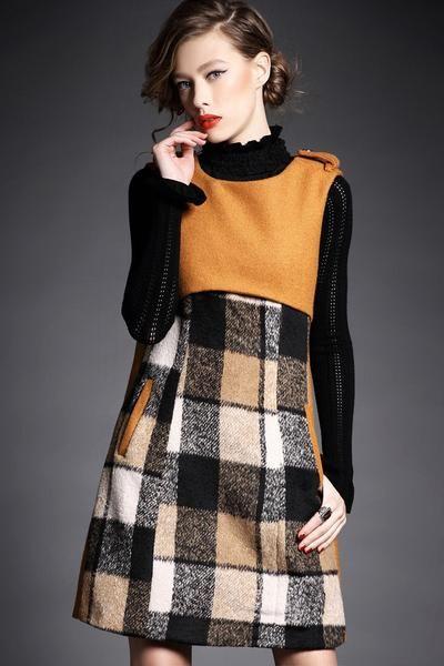 Sleeveless Wool Dress A-Line Open Back Design With Pockets Neckline:Round Pattern: PlaidPrint Sleeve: Sleeveless Length:Abov