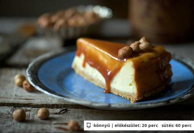 Mogyorós-karamellás sajttorta