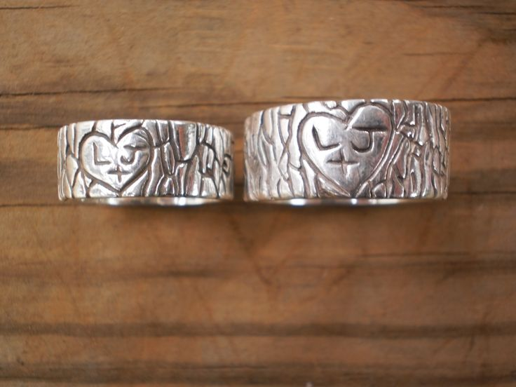 Hand Made Initial Tree Stump Rustic Wedding Bands His And Hers by Owl Be Yours Forever | CustomMade.com