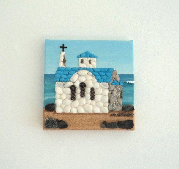 Acrylic Painting, Artwork with Seashells & Sand, Small Chapel by the Sea in Seashell Mosaic on Sand, Mosaic Art, 3D Art Collage, Wall Decor, Home Decor #ArtworkwithSeashells #mosaiccollage #seashellmosaic #homedecor #walldecor #3D