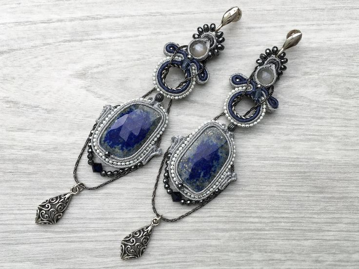 Long soutache earrings with lapis lazuli, moonstone, hematite. Blue dangle earrings with oxidized silver. Elegant jewelry. Christmas gift.