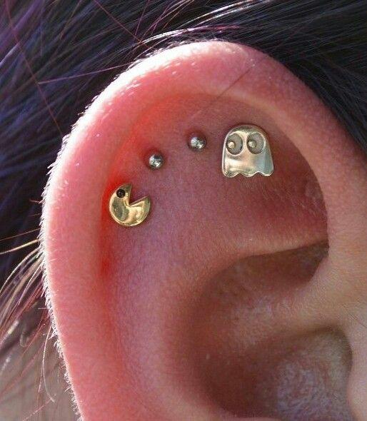 Pac man ear peircing