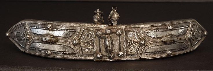 A large antique, 19th century, Islamic Russian Caucasian elaborate belt buckle, formed of two detachable parts made of various metals, including silver, niello. The outer face overlaid with an engraved sheet of silver decorated with niello designs, within, shaped segmental bands of beadwork, and set with raised domed bosses, retaining its original locking pin with the chain.The inner side fitted with loops for the leather belt. | eBay!