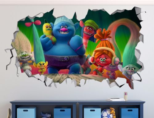 Trolls-3D-Wall-Decal-Sticker-Vinyl-Decor-Door-Smashed-Mural-Movie-Animation