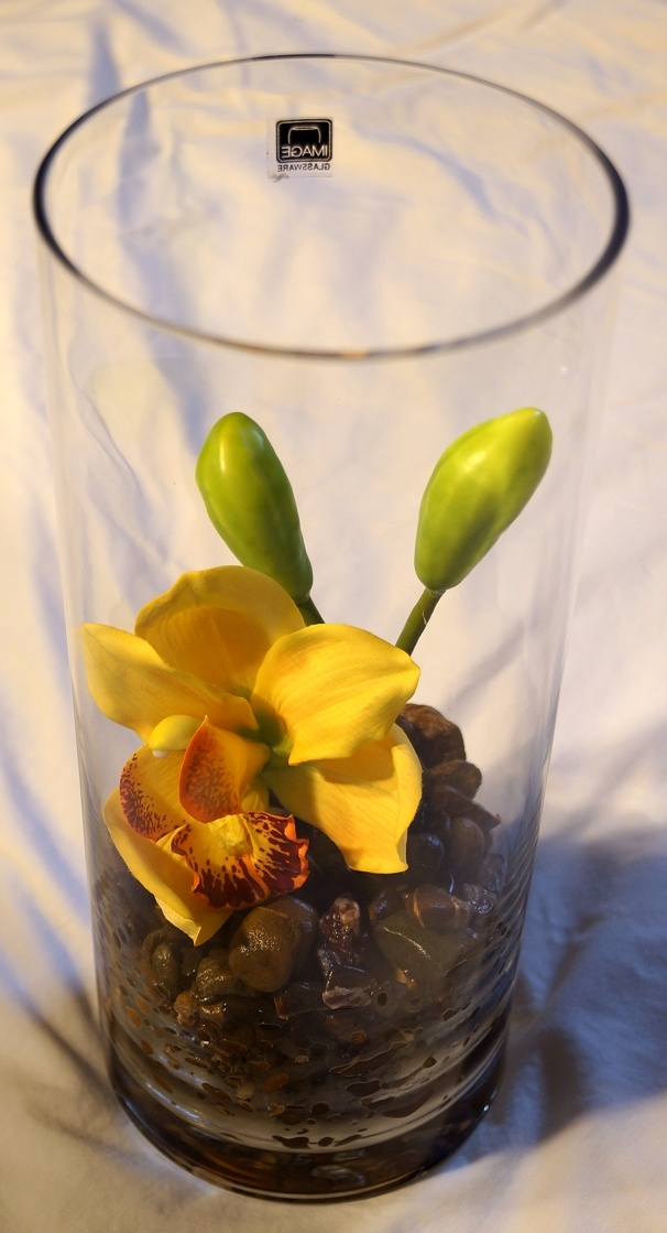 Tall Vase with Brown Rocks & Orange Orchids - $30.00
