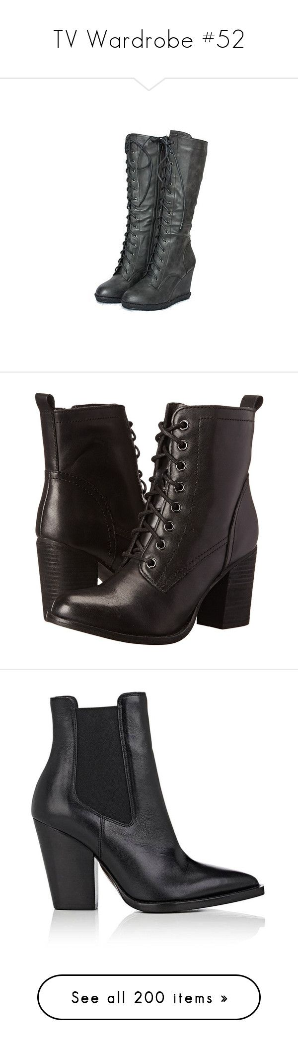 """""""TV Wardrobe #52"""" by demiwitch-of-mischief ❤ liked on Polyvore featuring shoes, boots, heels, steampunk, botas, gothic combat boots, combat boots, black heeled boots, goth boots and black goth boots"""