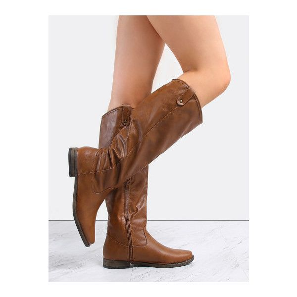 SheIn(sheinside) Almond Toe Knee High Boots CHESTNUT ($47) ❤ liked on Polyvore featuring shoes, boots, brown, knee length boots, flat knee boots, side zip boots, flat boots and vegan leather boots