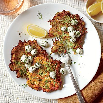 Zucchini Fritters with Herb-and-Mozzerella Salad - Homegrown Summer Squash Recipes - Southern Living