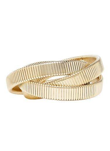 Three entwined box chain bracelets. One size fits all. Metal. Available in gold and silver.