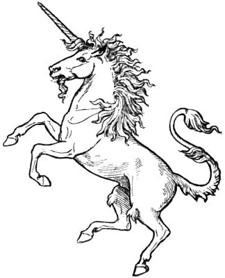 Symbolic Creatures in Art, by John Vinycom with special reference to British heraldry. THE UNICORN  http://osdir.com/ml/culture.templar.rosemont/2005-03/msg00000.html The Unicorn of the British Royal Arms, is armed with King Arthur's  Sword, the one he drew from the Obelisk Stone, and is the white,  spiral horn of the Narwhale, the same horn/sword that come out of  the white haired, goat-bearded, Angel's mouth in Revelations 12:16.