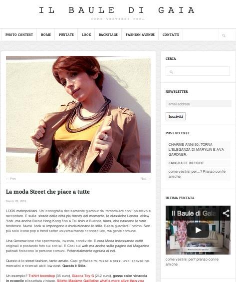 """IL BAULE DI GAIA (March 2013)_Il Baule di Gaia says: """"Questo è lo street fashion, tanto amato. Capi griffatissimi mixati a pezzi unici scovati nei mercatini e ricercati abiti low cost. Questo è Stile. Un esempio? T-shirt boombap (35 euro), Giacca Toy G (242 euro), gonna color vinaccia in ecopelle plissettata vintage, Siletto Madame Guillotine what's more alive than you  485 euro, Clutch legò Chanel, Collana materia design."""""""