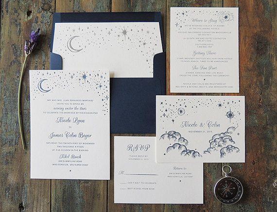 Suite di invito matrimonio notte Starry di HarkenPress su Etsy