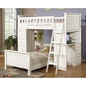 Willloughby Cottage White Twin Loft Bunk Bed Lower Bed Chest Hutch