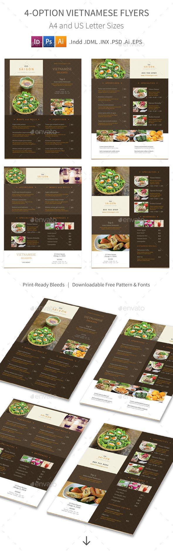 Vietnamese Restaurant Menu Flyers 2 – 4 Options — Photoshop PSD #pantone #oriental • Available here → https://graphicriver.net/item/vietnamese-restaurant-menu-flyers-2-4-options/15531541?ref=pxcr