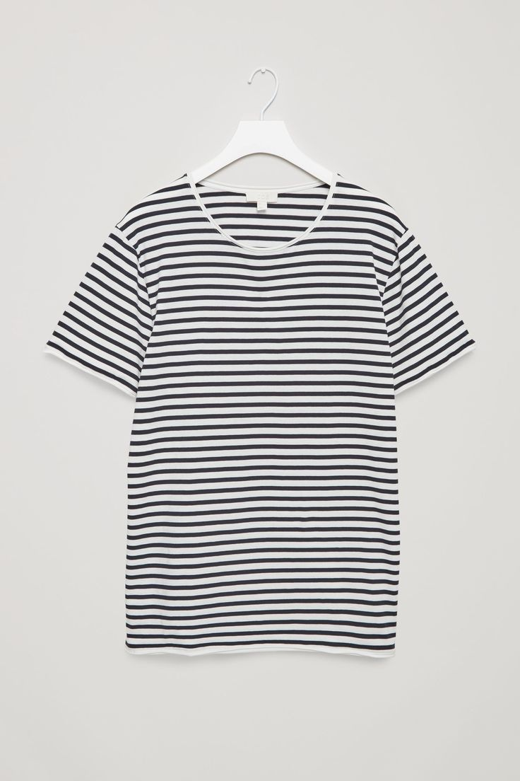 COS image 6 of Striped rolled edge t-shirt  in Indigo