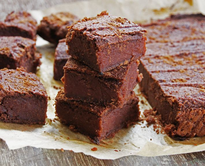 Sweet Potato Brownies: - 2 medium to large sweet potatoes, - 2/3 of a cup of ground almonds, - 1/2 a cup of buckwheat flour (brown rice flour will also work), - 14 medjool dates, - 4 tablespoons of raw cacao, - 3 tablespoons of pure maple syrup syrup, - a pinch of salt