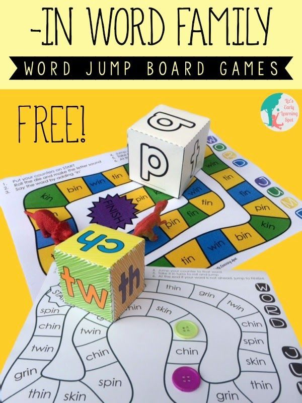 Word Family Dice and Board Games