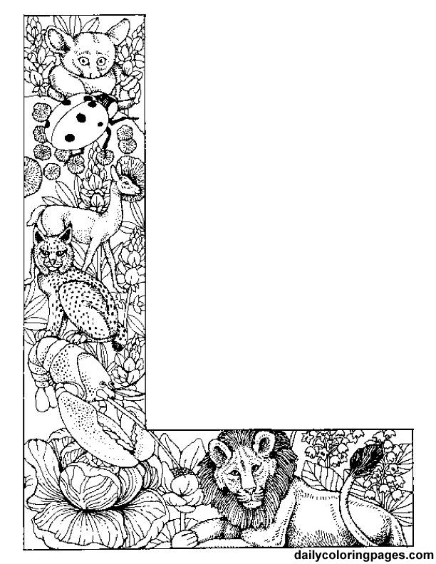 l animal alphabet letters to print  wonderful coloring pages!  http://dailycoloringpages.com/alphabet-letters-to-print/challenging-animal-alphabet-letters-to-print/#