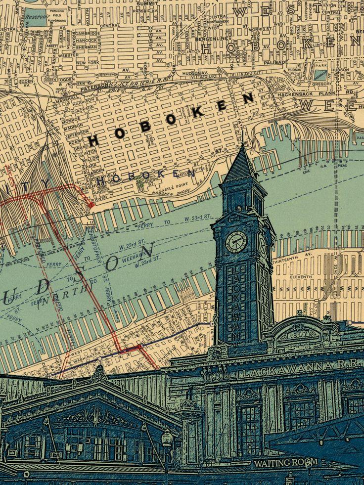 Map Paris Airports%0A Hoboken NJ Lackawanna train station map by DarkIslandCity on Etsy
