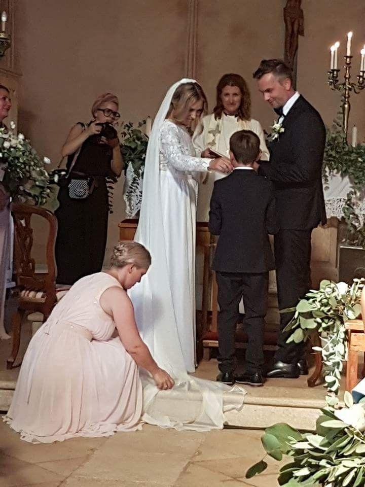 Boho wedding in Italy.  Boho wedding dress by Norwegian designer TSH Tina Steffenak Hermansen