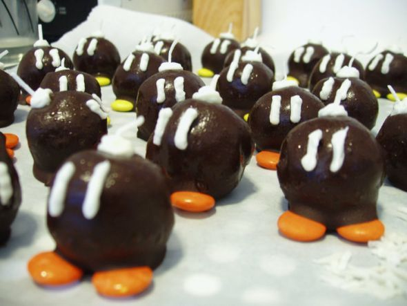 Bob-omb brownie bites for Augusts Super Mario bday party. They turned out great and in the freezer all ready to go!