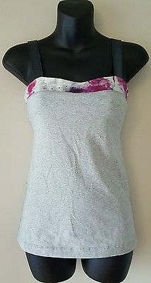 Lululemon grey tank top with pattern trim yoga workout top size 4 thick strap