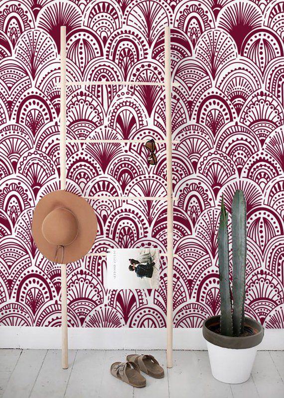 Burgundy Bohemian Removable Wallpaper Abstract Wallpaper Etsy Removable Wallpaper Abstract Wall Decor Abstract Wallpaper