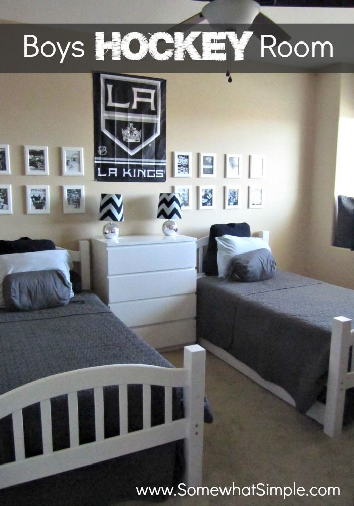 Awesome boy's hockey bedroom- good ideas for any sport or theme. Not over the top, I LOVE IT!