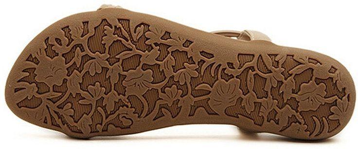 Amazon.com   Ladies Beaded Cross Straps Bohemia Flat Shoes Casual Beach Sandals Flip Flops (5 B(M) US/Tag 36, Apricot)   Platforms & Wedges