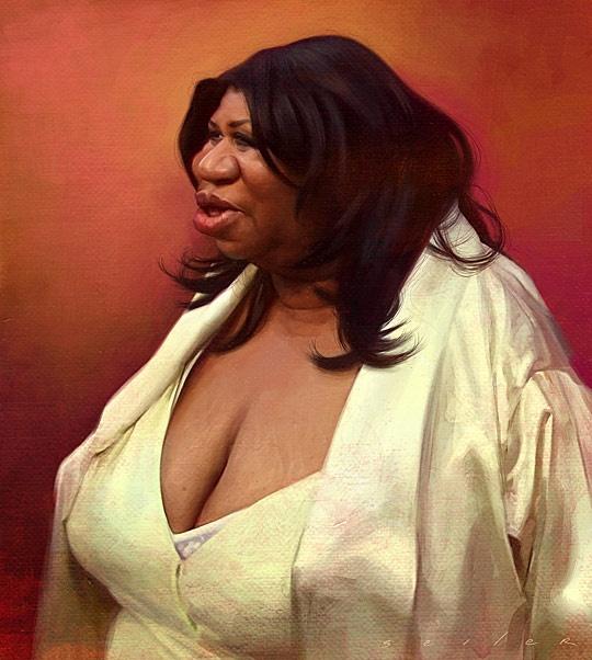 singer Aretha Franklin caricature