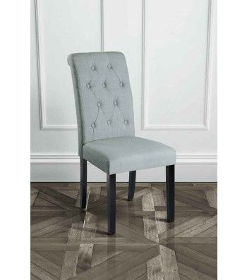 Genoa Grey Upholstered Scroll Back Dining Chair with Dark Legs