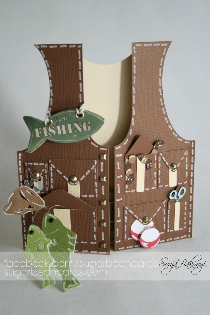 Fishing Vest - Scrapbook.com - Masculine card - fishing vest shaped card. LOve the faux stitching!
