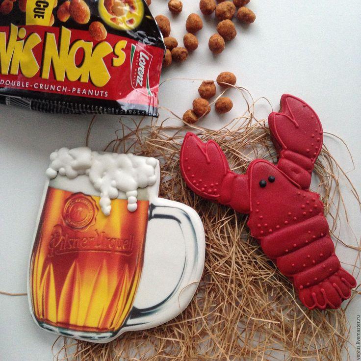 Купить или заказать Набор пряников Пиво с раками в интернет-магазине на Ярмарке Мастеров. Набор состоит из двух пряничков…