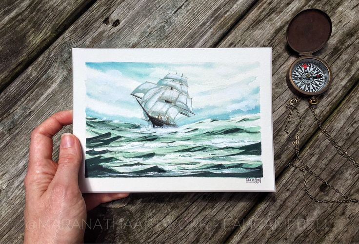 "Original Boat Painting Mixed Media Seascape Ocean Landscape Nautical Painting Clipper in Heavy Swell - ""Daring and Darjeeling"" by Em Campbel by MaranathaArtMarket on Etsy https://www.etsy.com/listing/541068167/original-boat-painting-mixed-media"