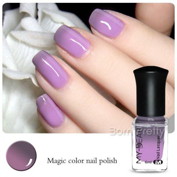 $5.92 1 Bottle 6ml Thermal Nail Polish Temperature Change Colour Polish Peel Off…