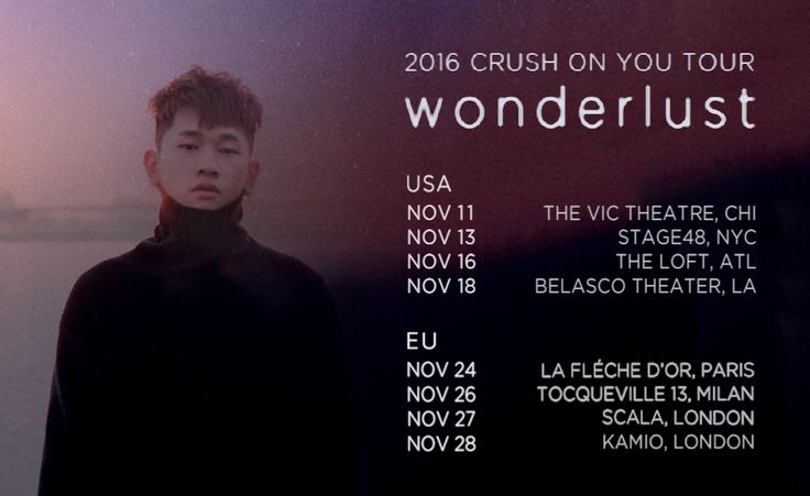 2016 CRUSH ON YOU TOUR 'wonderlust' D-1 before Crush starts his USA and EU tour !! ——— Few tickets still available for the US tour @ http://www.powerhouselive.net/