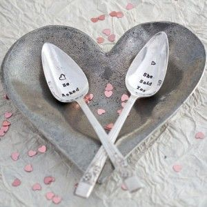 A vintage set of tea spoons lovingly hand stamped with he asked and she said yes to create the perfect engagement or wedding present for the special couple who has everything. The perfect keepsake to remember their special day. Our full range of vintage cutlery can be personalised for you or your loved one making it that extra bit special.