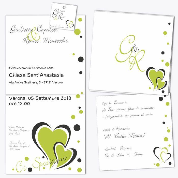 "Partecipazioni matrimonio ""Green Apple"" - set"