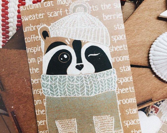 Raccoon card, Autumn Raccoon, raccoon postcard, cute card, card for friend, winter card, funny card