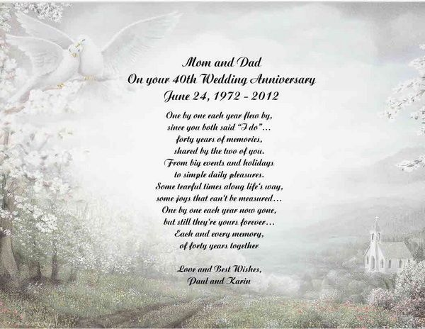 30th Wedding Anniversary Gifts For Mum And Dad: 40th Anniversary Poems For Parents - Google Search