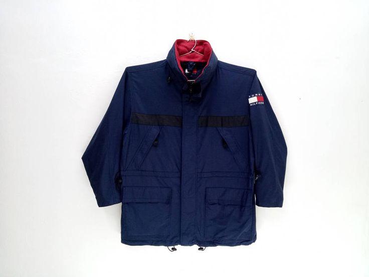25%CRAZYSALE Vintage Tommy Hilfiger Zip Up Hoodies Jacket Rare Design/Polo Sport/Sailing Gear/Tommy Big Logo/ PRL - $101.25 USD