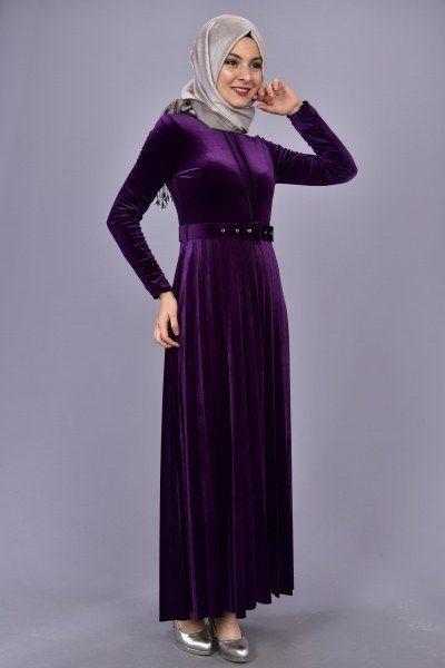 Modamerve Kemerli Piliseli Kadife Elbise Mor Eog 3222 1 Elbise The Dress Moda
