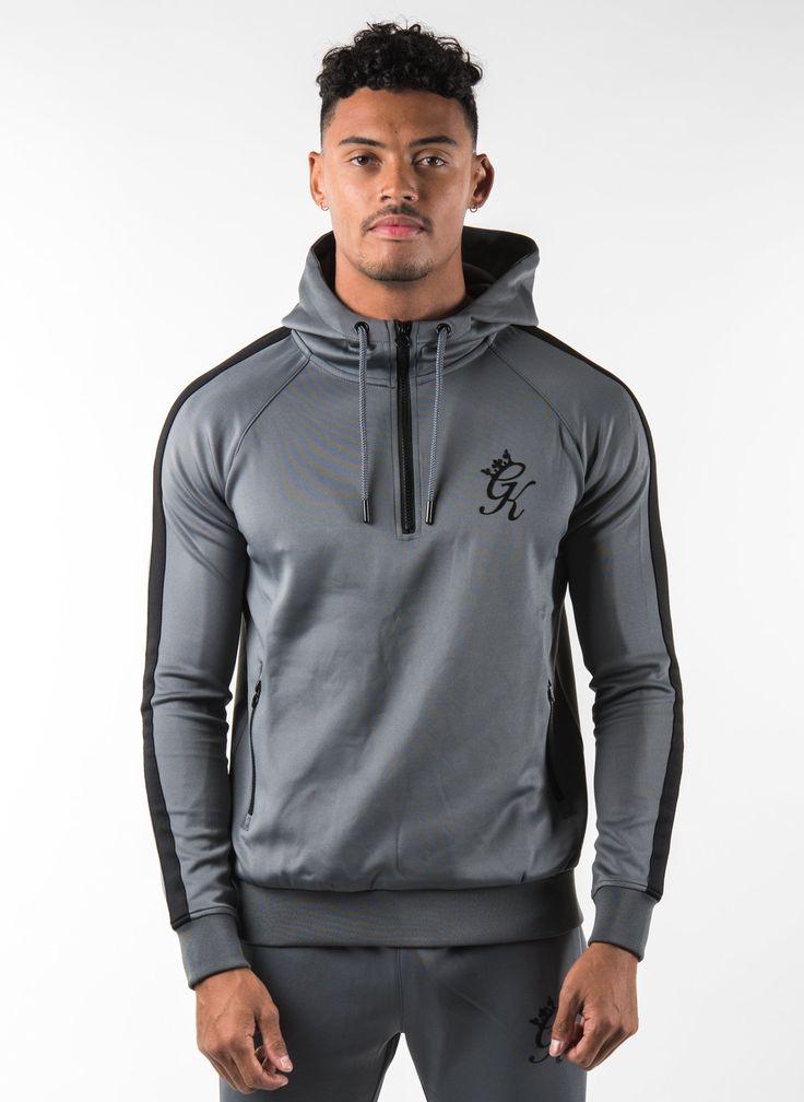GK 1/4 Zip Poly Tracksuit Top - Dark Grey/Black