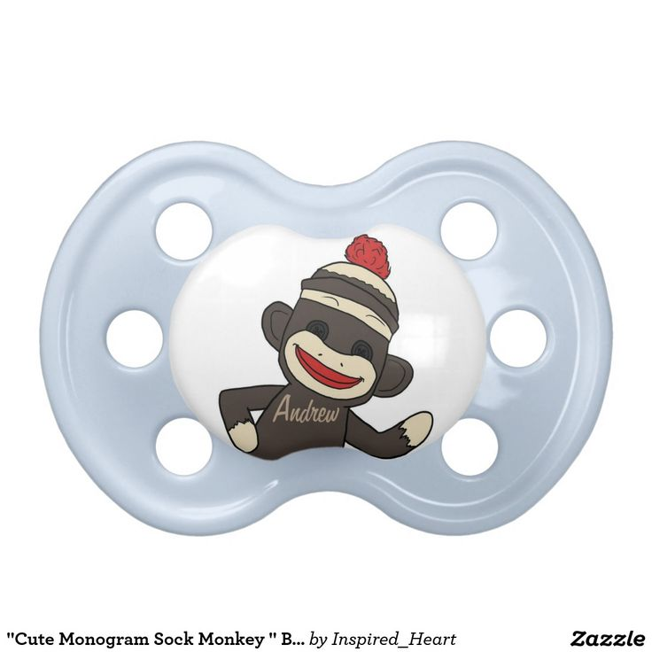 """Cute Monogram Sock Monkey "" BABY PACIFIER                                                                                                                                                                                 More"