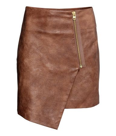 Brown wrap around faux leather skirt H&M GB