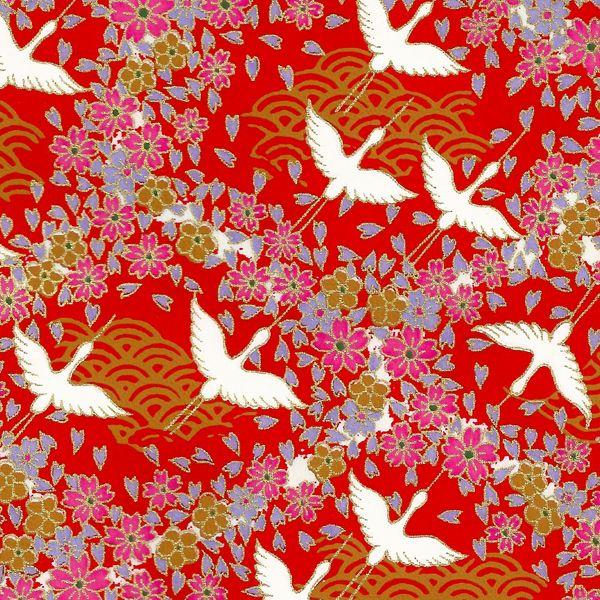 Papier Japonais Washi, sérigraphie d'oiseaux et fleurs - Adeline Klam