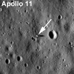 In this image, the Apollo 11 lunar lander [the descent stage] and its shadow can be seen in a view from NASA's new Lunar Reconnaissance Orbiter, which is scouting the moon for new landing sites for future astronauts.