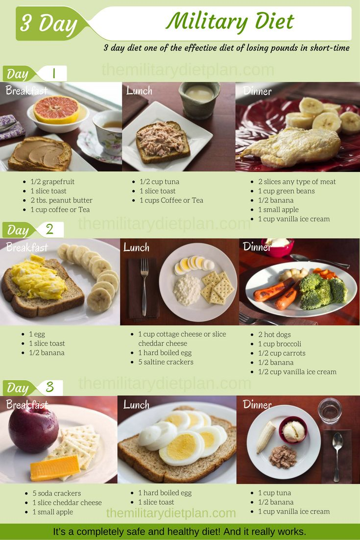 3 day military diet or 3 day diet is one of the effective diet of losing pounds a short time. You must eat just what is listed. Nothing more, nothing less. You'll be able to lose up to 40 pounds (18 kg) in a month if you follow this diet correctly. It's a completely safe and healthy diet! And it really works.